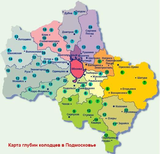 Карта глубин колодцев в Московской области
