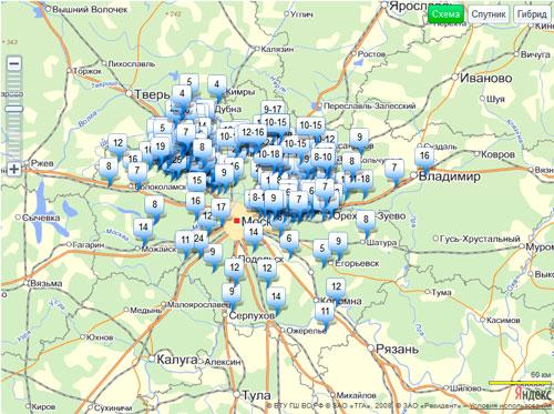 Интерактивная карта глубин колодцев в Московской области